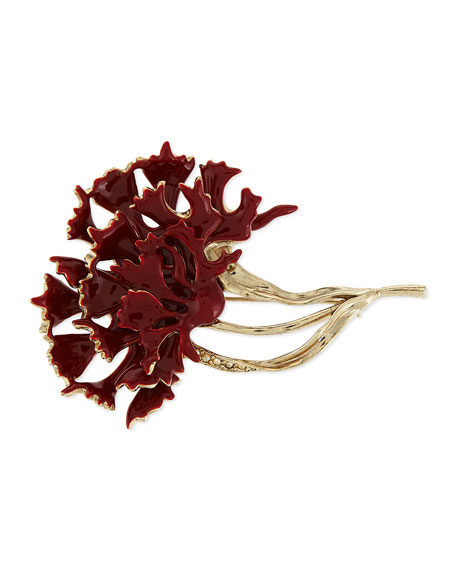 Oscar de la Renta Carnation Pin, Ruby/Light Gold