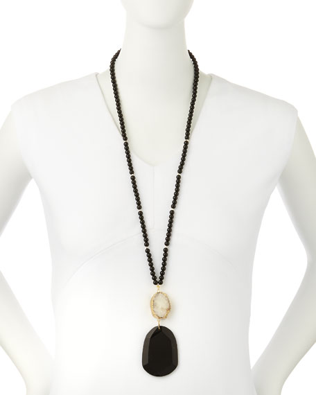 Agate Beaded Pendant Necklace w/ White Druzy