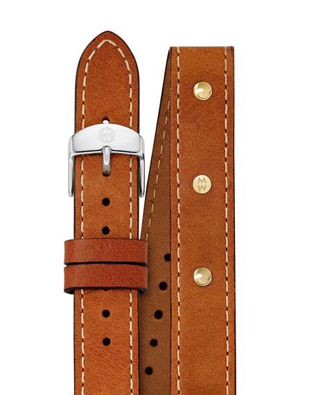 MICHELE Calf Leather Watch Strap, Saddle