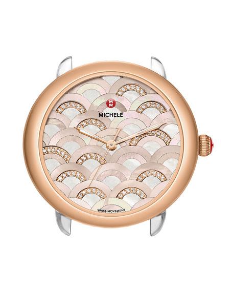 MICHELE 16mm Serein Diamond Mosaic Watch Head, Rose