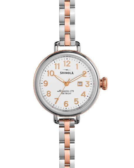 Shinola 34mm Birdy Bracelet Watch, Rose Gold