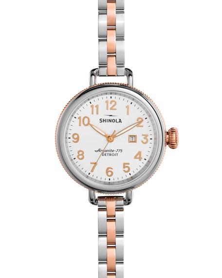 Shinola 34mm Birdy Bracelet Watch, Rose Gold