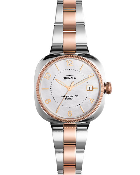 Shinola 36mm Gomelsky Watch with Bracelet Strap, Rose