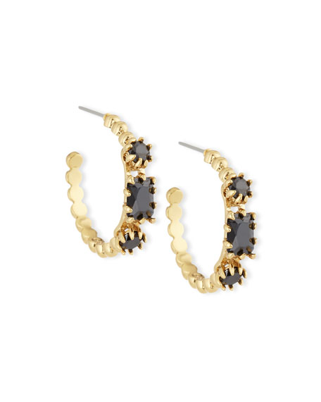 Eddie Borgo Yellow Crystal & Rose Gold Estate Hoop Earrings