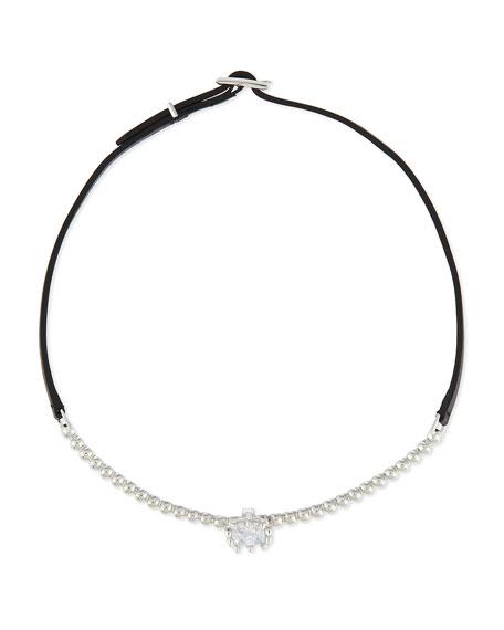 Eddie Borgo Crystal & Leather Choker Necklace, Silvertone/Black