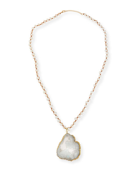 Pearly Bead Necklace w/Druzy Pendant, Tan