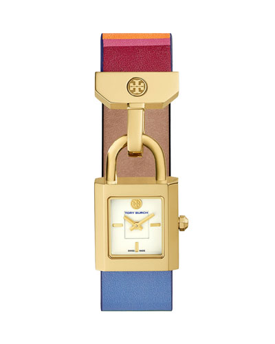 Surrey Striped Leather Padlock Watch, Multi