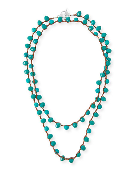 An Old Soul Long Crocheted Turquoise Necklace, 39