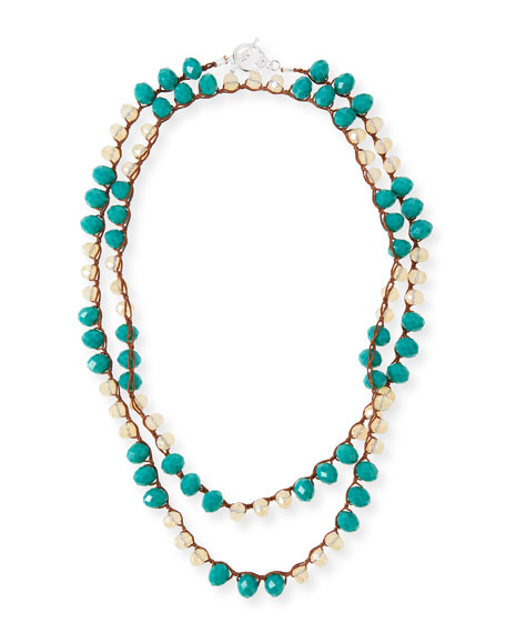 An Old Soul Long Crocheted Teal Crystal Necklace, 42