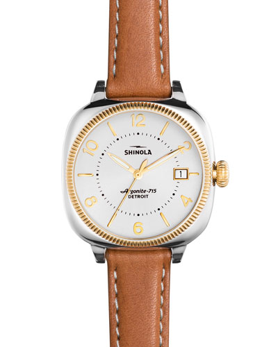 36mm Gomelsky Leather Strap Watch, Pearlescent White/Bourbon