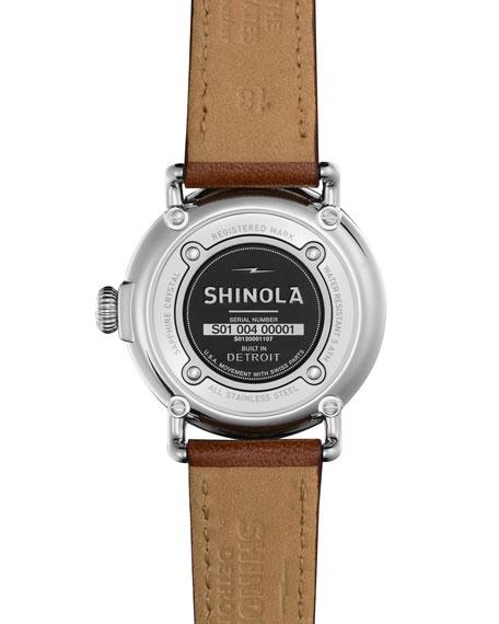 36mm Runwell Moon Phase Watch, Dark Cognac