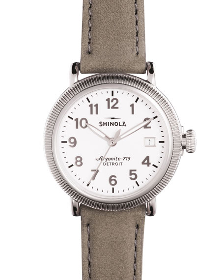 Shinola 38mm Runwell Coin-Edge Leather Strap Watch, Heather
