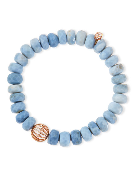 SYDNEY EVAN 10Mm Faceted African Opal Bead Bracelet With 14K Ball Spacer in Blue
