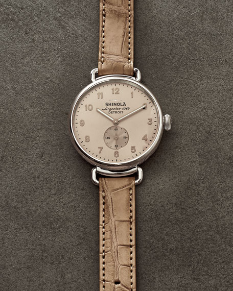 38mm Canfield Alligator Strap Watch, Nude Pink/Silver