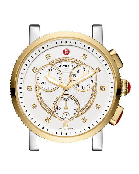 MICHELE Large Sport Sail Diamond-Dial Two-Tone Watch Head
