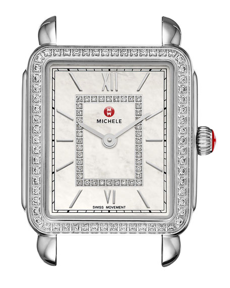 MICHELE 18mm Deco II Diamond Watch Head, Silver