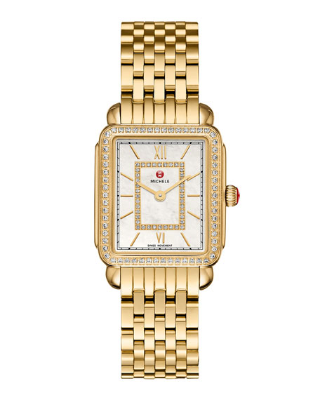 18mm Deco II Diamond Watch Head, Gold