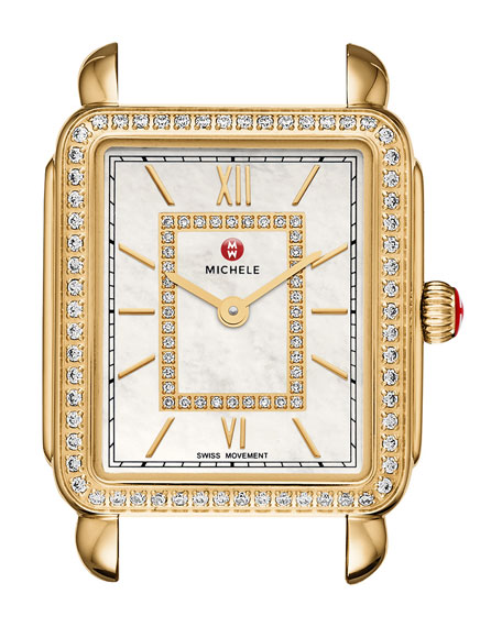 MICHELE 18mm Deco II Diamond Watch Head, Gold