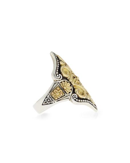 Carved 18K Gold Fleur de Lis Ring