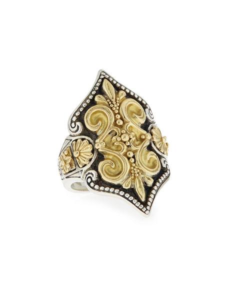 KonstantinoCarved 18K Gold Fleur de Lis Ring
