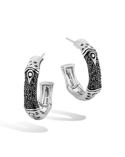 Bamboo Sterling Silver Lava Hoop Earrings