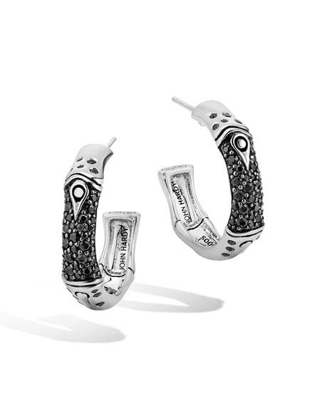 Bamboo Sterling Silver Lava Hoop Earrings