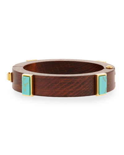 Wood & Turquoise Cubist Cuff Bracelet