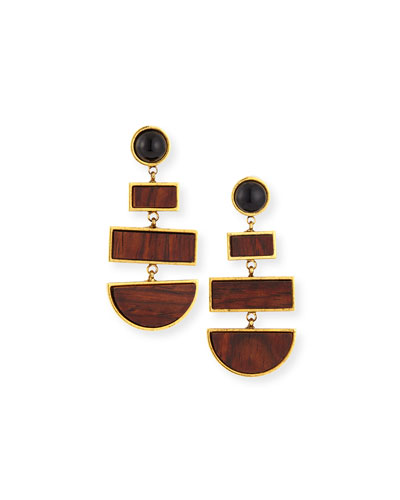 Totem Geometric Rosewood Drop Earrings