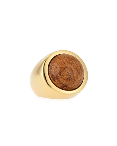 18K Gold Wood Cabochon Ring