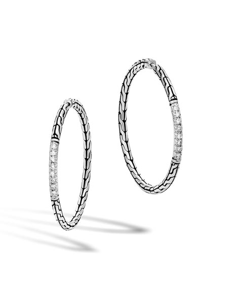 John Hardy Classic Chain Pavé Diamond Medium Hoop
