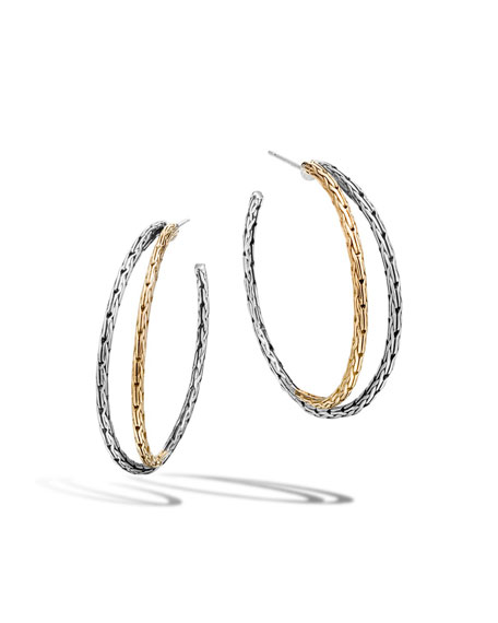 18K & Sterling Silver Chain Double-Hoop Earrings