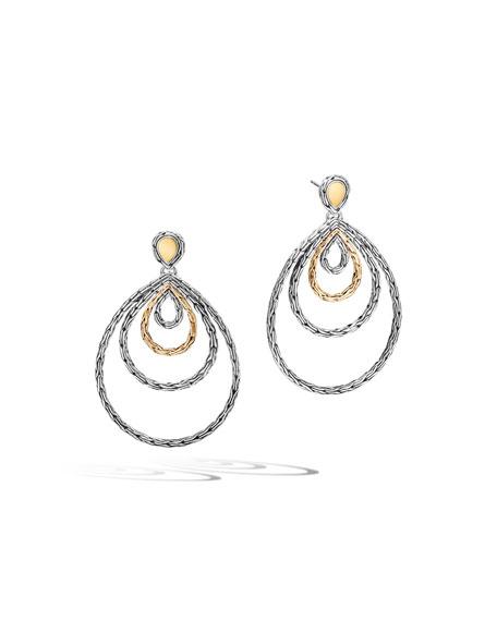 Carved Chain Dangle Drop Earrings