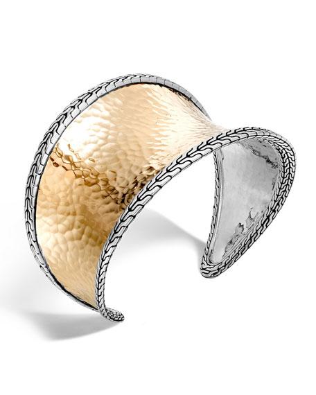John Hardy Hammered 18K Gold Chain Cuff Bracelet
