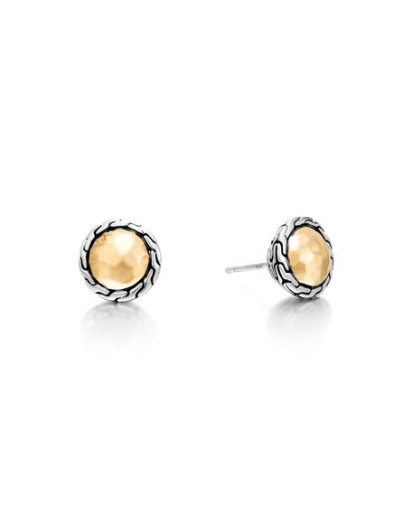 John Hardy 18K Gold Chain Round Stud Earrings