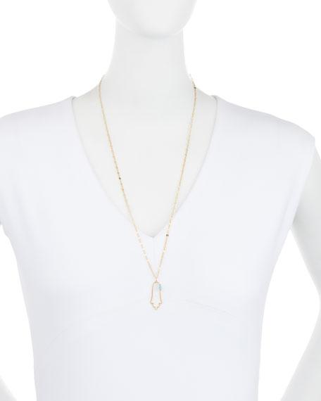 "Annaliese Hamsa Pendant Necklace, 25""L"
