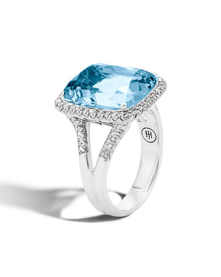 John Hardy Faceted Topaz & Pave Diamond Ring,