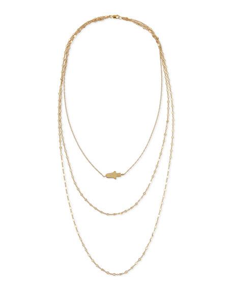 Jennifer Zeuner 18K Annette Three-Strand Hamsa Necklace