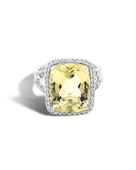 John Hardy Faceted Lemon Quartz Amp Pav 233 Diamond Ring 0 3 Tdcw