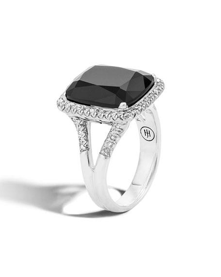 John Hardy Faceted Onyx & Pavé Diamond Ring,
