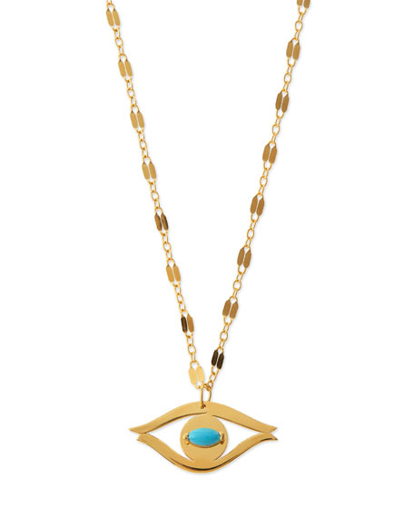 Jennifer Zeuner Beyah Turquoise Evil Eye Pendant Necklace