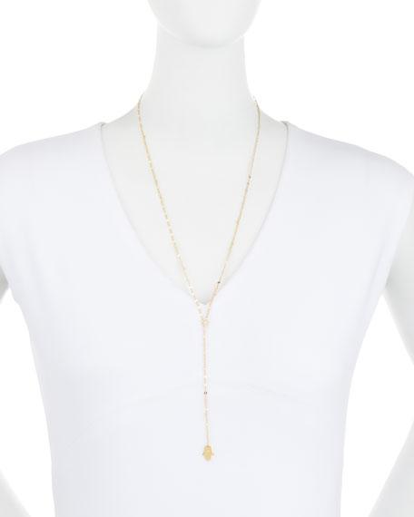 "Josie Hamsa-Charm Lariat Necklace, 27""L"