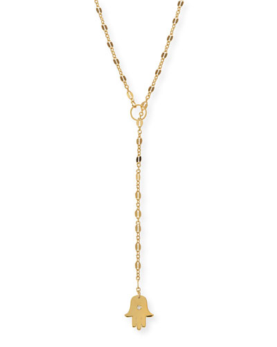 Josie Hamsa-Charm Lariat Necklace, 27