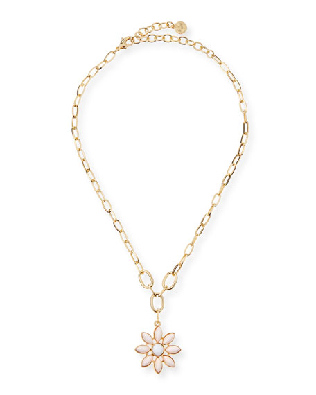 R.J. Graziano Small Flower Pendant Necklace, Blush
