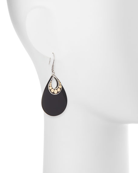 Dot Carved Black Onyx Drop Earrings