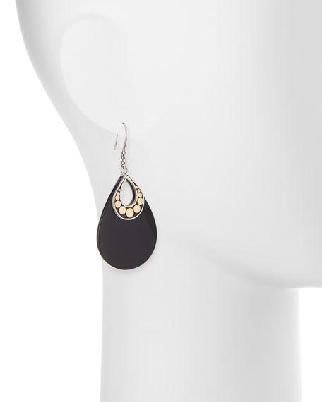 Dot Carved Black Onyx Drop Earrings