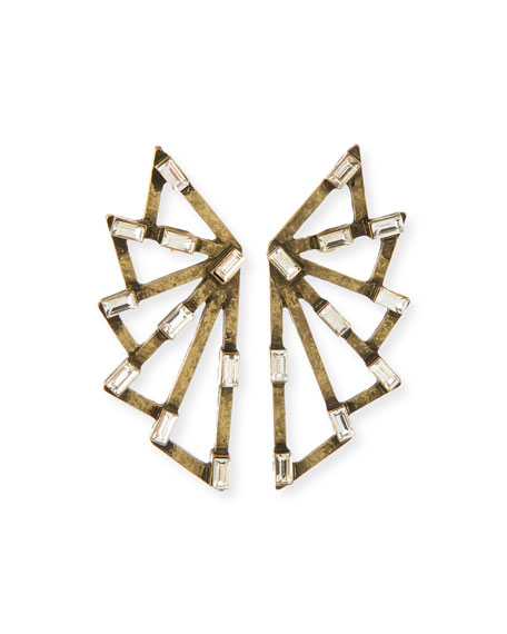 R.J. Graziano Embellished Fan Earrings, Brass