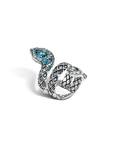 John Hardy Cobra Lava Blue Topaz Double-Coil Ring