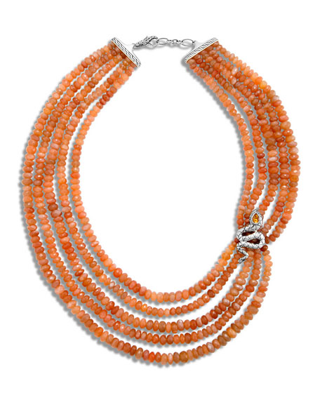 John Hardy Legends Cobra Multi-Strand Peach Moonstone Necklace,