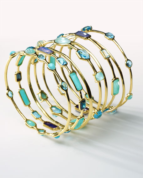 18K Gold Rock Candy Multi-Stone Bangle in Waterfall