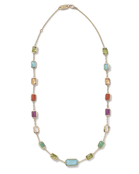 "18k Gold Rock Candy Multi-Stone Necklace in Summer Rainbow, 18""L"